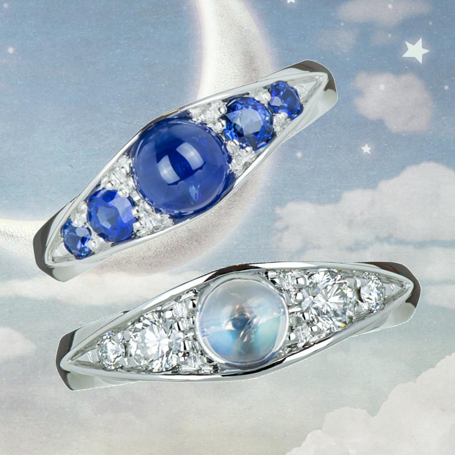 Ring mit Safiren, Ring mit Mondstein und Brillanten