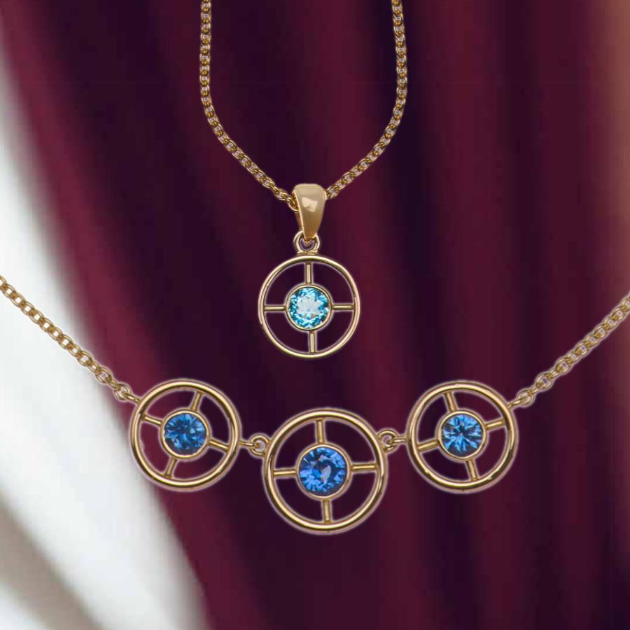 Collier Gold mit Safiren, Anhänger Gold mit Blautopas