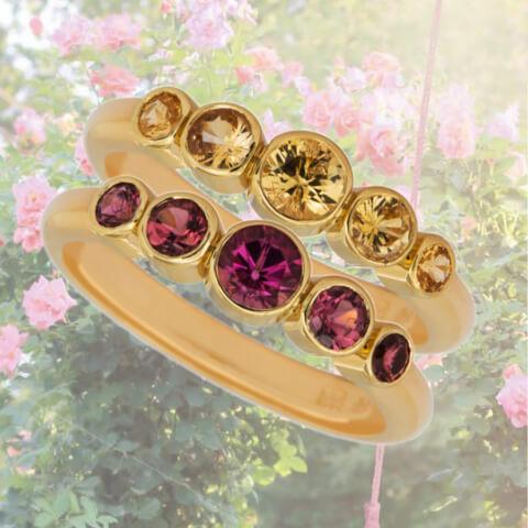 Goldringe mit rosa Turmalinen und  gelben Safiren