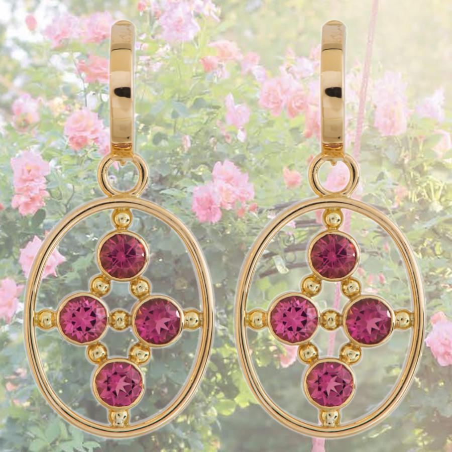 goldene Ohrringe mit rosa Turmalinen