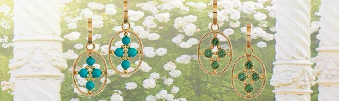 Rose Collection Ohrringe mit Türkisen und grünen Turmalinen