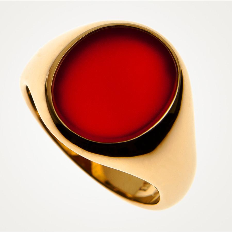 Siegelring klassische ovale Form inn Gelbgold mit einem Carneol