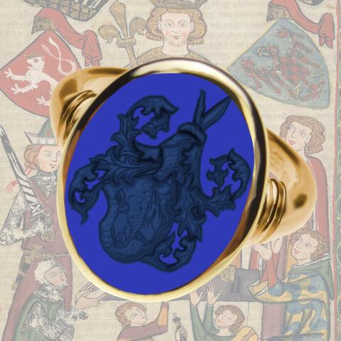Siegelring Gelbgold mit filigranen Details und  Lapis Lazuli