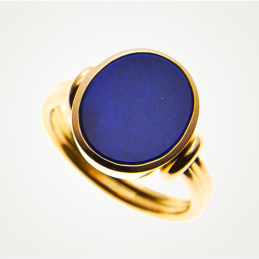 Siegelring mit detaillierter Ringschiene in Gelbgold mit blauem Lapis Lazuli Stein