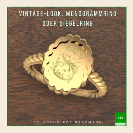 Siegelring oder Monogrammring im Vintage-Stil aus Gelb- oder Rosegold