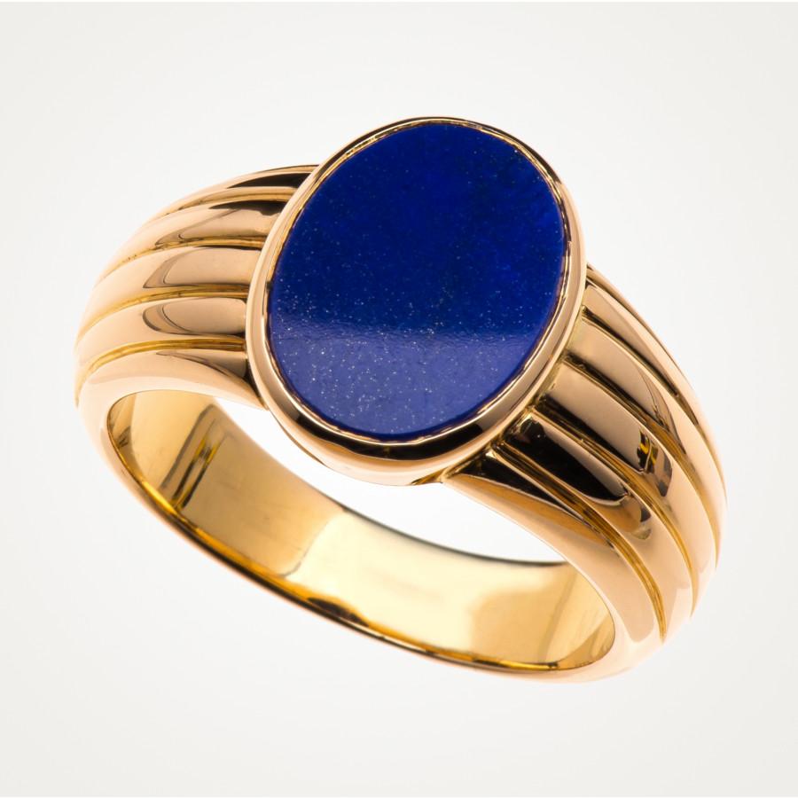 Siegelring mit einem ovalen Lapis-Lazuli und einer plastisch verzierten Ringschiene