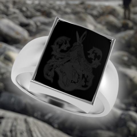 moderner Siegelring mit eckigem Onyx gefasst in Platin