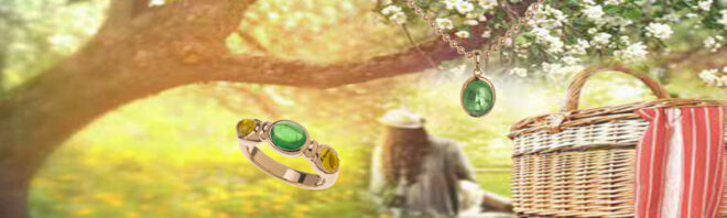 Ring mit Tsavorith und gelben Turmalinen