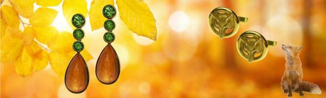 Ohrringe mit Mandarin-Granat-Cabochons und Tsavorithen, Manschettenknöpfe mit Fuchsköpfen
