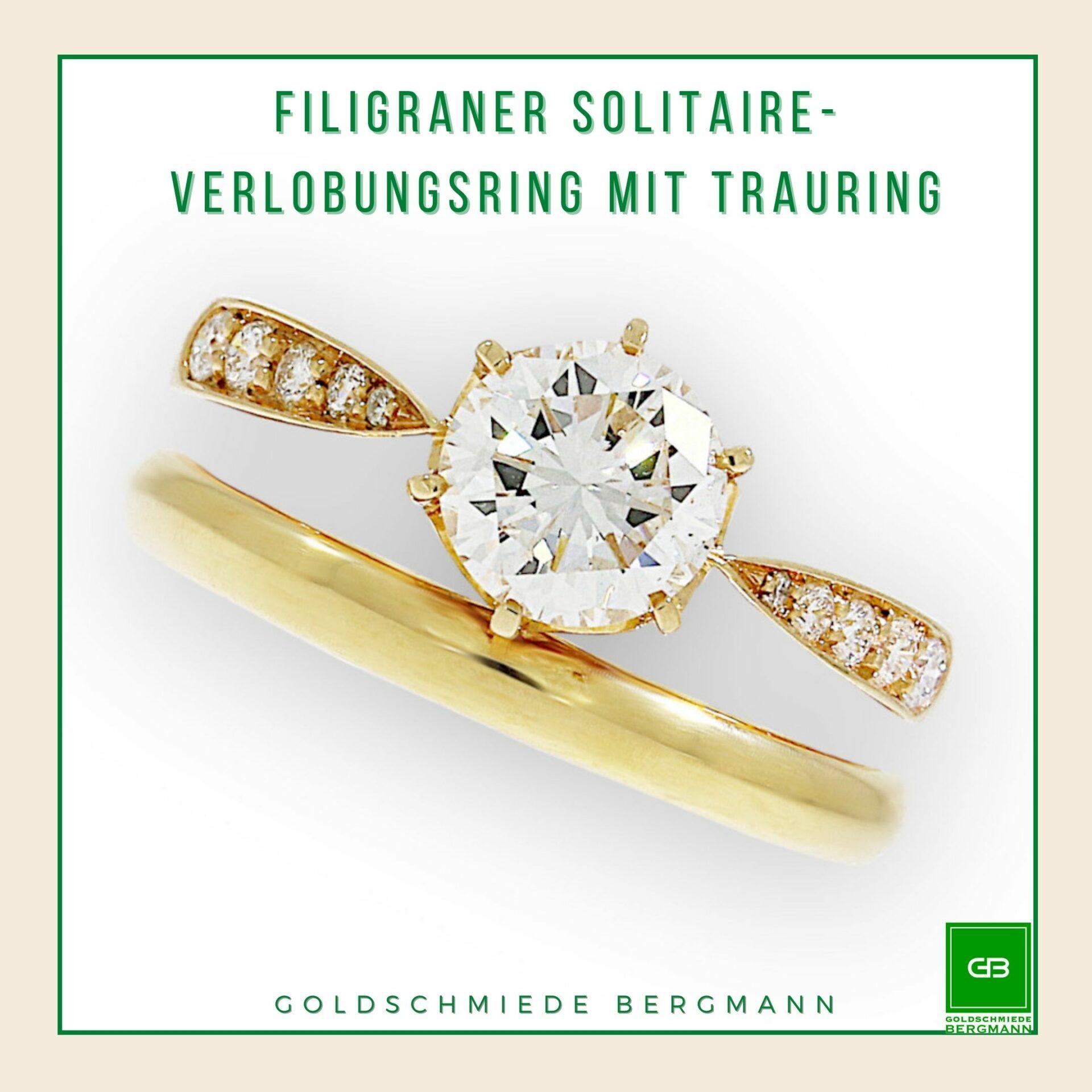 zarter Verlobungsring Solitaire in Rosegold mit einem graden Trauring in Rosegold