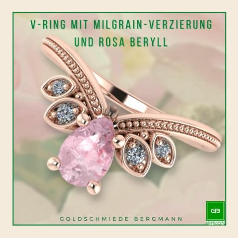verspielter V-Ring mit einer Spitze, Milgrainverzierung, Brillanten und einem rosa Turmalin in Rosegold