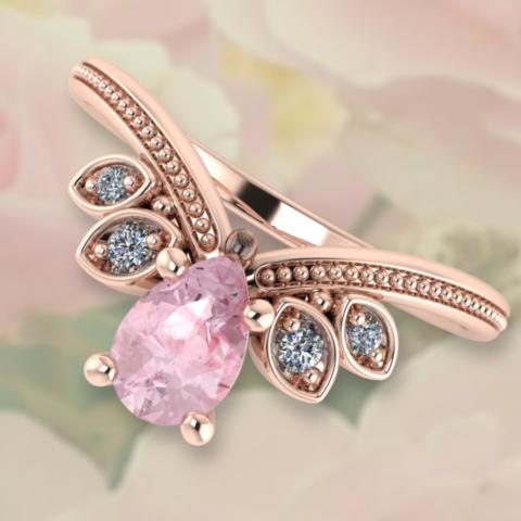 verspielter V-Ring mit einer Spitze, milgrainverzierunge, Brillanten und einem rosa Turmalin in Rosegold