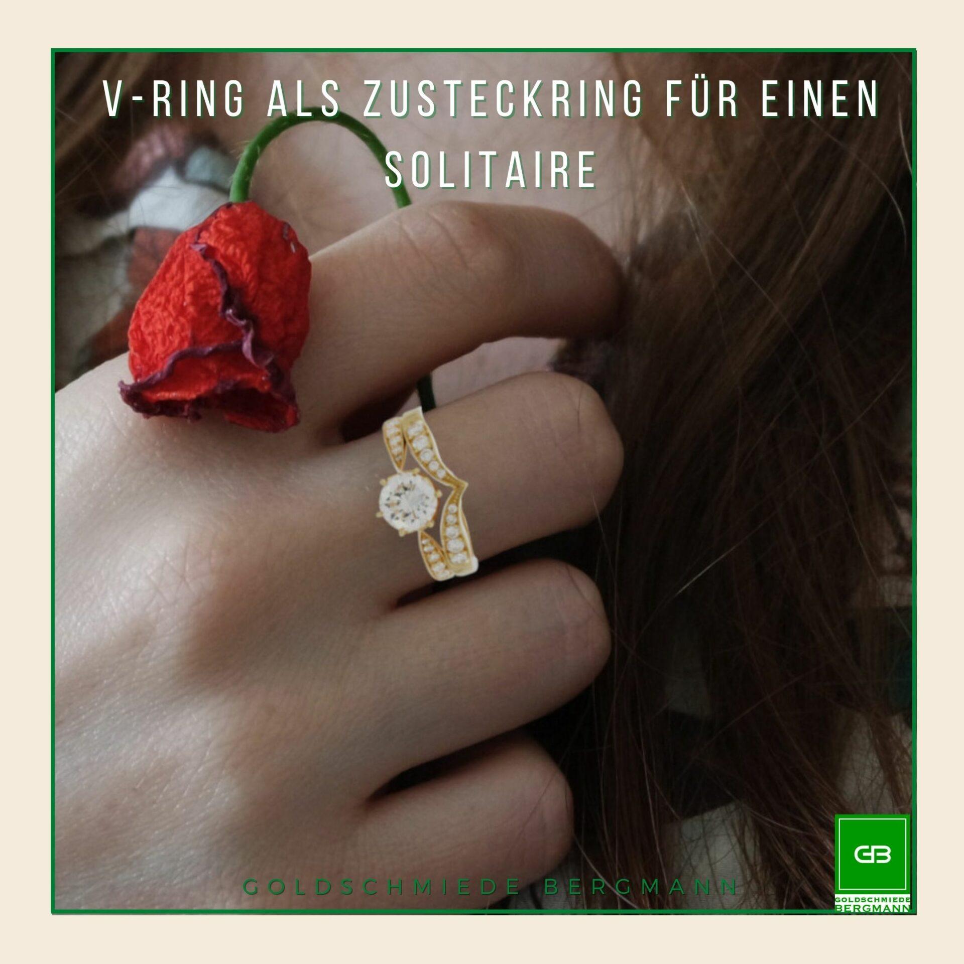 V-Ring mit Brillanten passend zu einem Solitaire in Rosegold