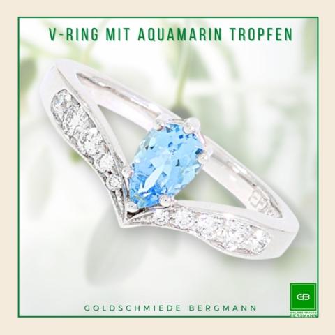 V-Ring in Weißgold mit Brillanten und einem hellblauen Aquamarin