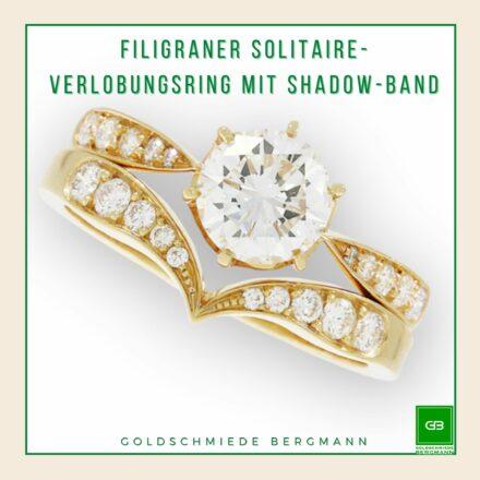 zarter Verlobungsring Solitaire in Rosegold mit geschwungenem Shadowband Trauring