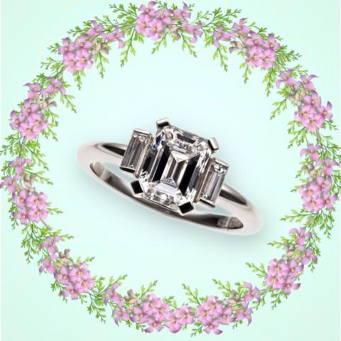Verlobungsring Platin mit Diamant im Emerald-Cut und 2 Diamant-Baguettes
