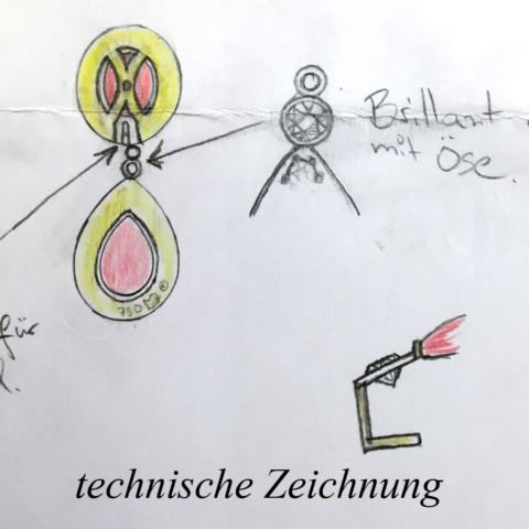 technische Zeichnung für Ohrringe mit Rubin Cabochon und Brillanten